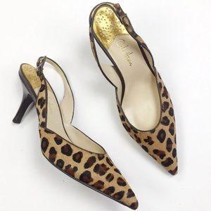 Cole Haan Fiona Leopard Calf Hair Slingback Heel
